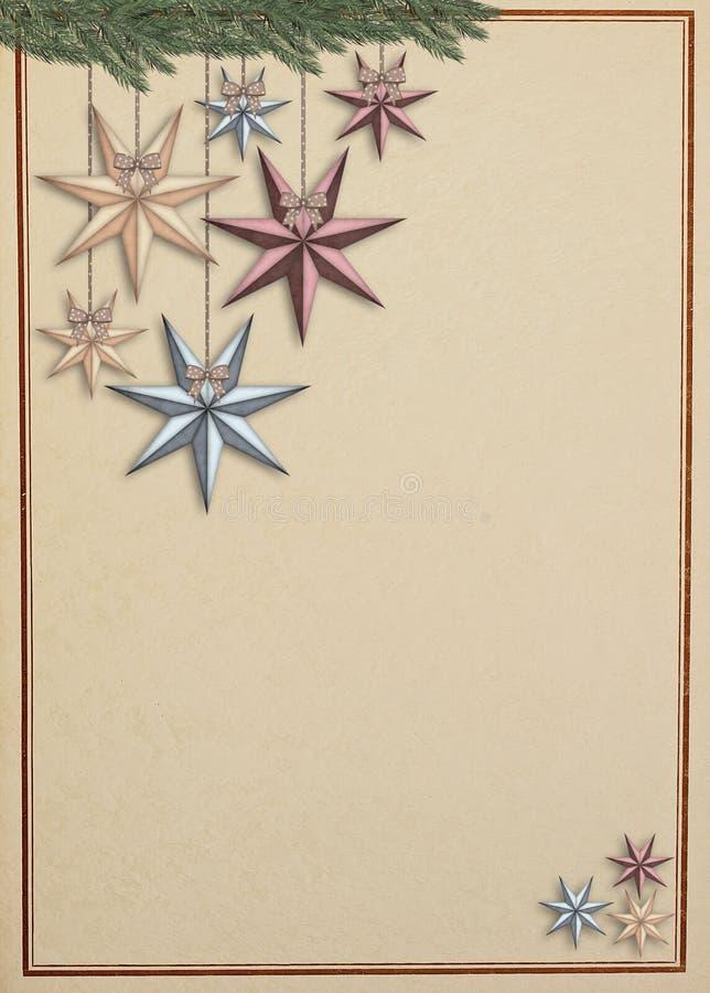 Weinleseweihnachtskarte mit den Sternen, die das Hängen von einem Fichtenzweig hängen lizenzfreie abbildung