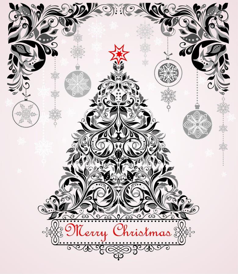 Weinleseweihnachtsschwarzweiss-Grußkarte mit Weihnachtsbaum und Blumendekoration lizenzfreie abbildung