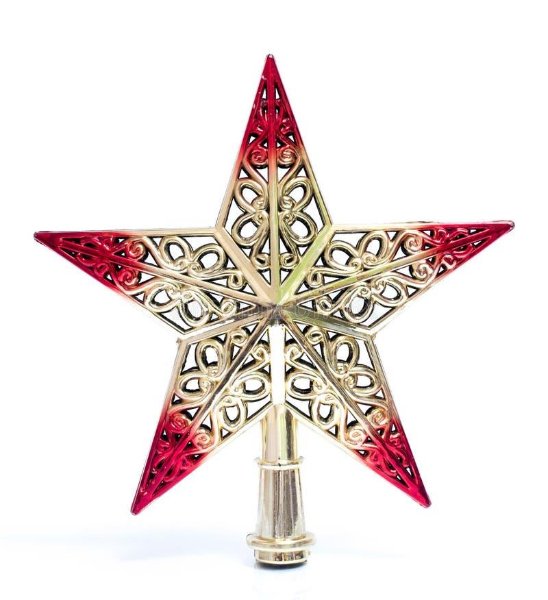 Weinleseweihnachtsstern lokalisiert auf weißem Hintergrund Kann auf Weihnachtsbaum gesetzt werden Gut für Weihnachtsabend und Wei stockbilder