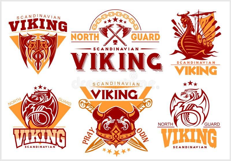 Weinlesewikinger-Embleme stellten mit skandinavischen Elementen auf weißem Hintergrund ein vektor abbildung