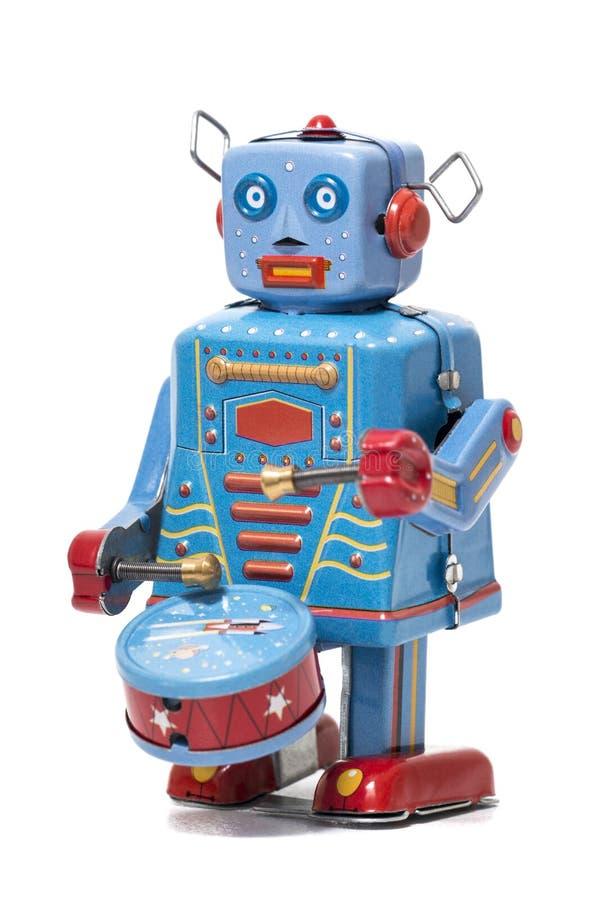 Weinlesezinn-Roboterspielzeug stockbild