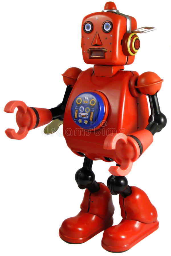 Weinlesezinn Windup-Roboterspielzeug lizenzfreies stockbild