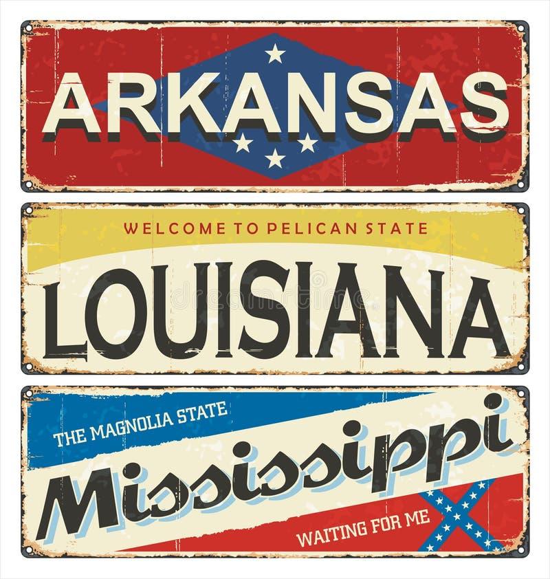 Weinlesezinn-Zeichensammlung mit Amerika-Staat arkansas louisiana mississippi Retro- Andenken oder Postkartenschablonen auf Rostb stock abbildung