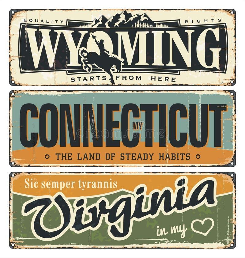 Weinlesezinn-Zeichensammlung mit Amerika-Staat wyoming connecticut virginia Retro- Andenken auf Rosthintergrund Amerikanische Fla vektor abbildung