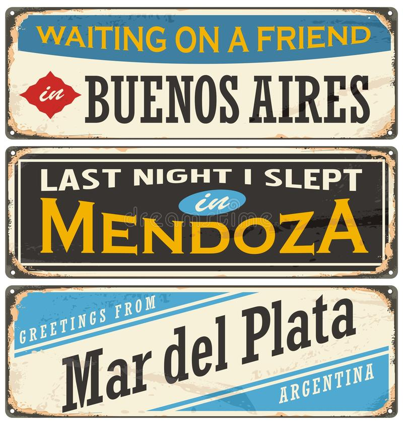 Weinlesezinn-Zeichensammlung mit Argentinien-Stadtnamen lizenzfreie abbildung