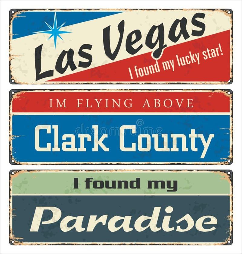 Weinlesezinn-Zeichensammlung mit USA-Städten Las Vegas Clark County paradies Retro- Andenken oder Postkartenschablonen auf Rostrü stock abbildung