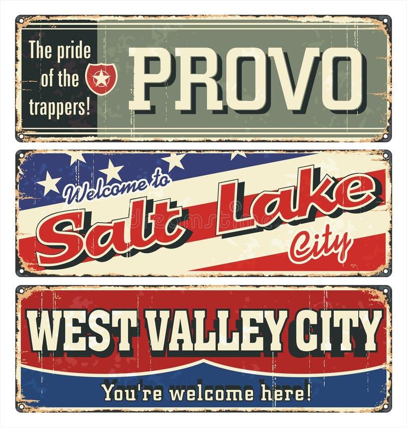 Weinlesezinn-Zeichensammlung mit USA-Städten provo Salt See Westtal kalifornien utah Retro- Andenken oder Postkartenschablone vektor abbildung