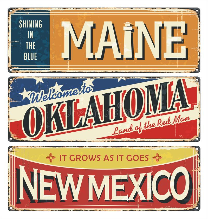 Weinlesezinn-Zeichensammlung mit USA-Staat maine oklahoma Schattierte Entlastungskarte, mit HauptStadtgebieten und Flüssen, umgeb stock abbildung