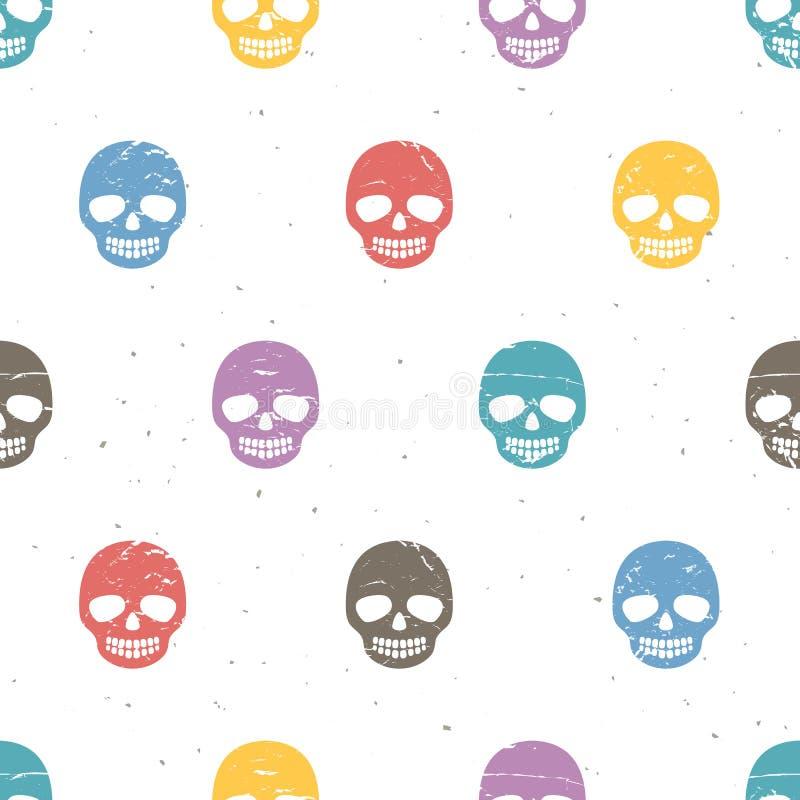 Weinlesezuckerschädel Nahtloses Muster auf weißem Hintergrund stock abbildung