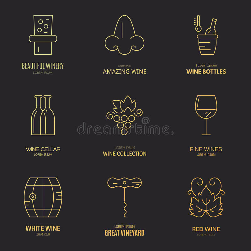 Weinlogos stock abbildung