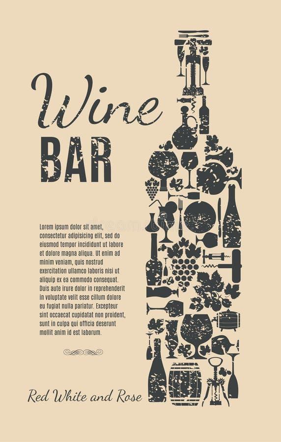 Weinmenükarte stock abbildung