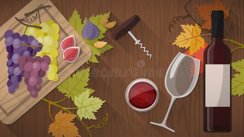 Weinprobe mit Lebensmittel vektor abbildung
