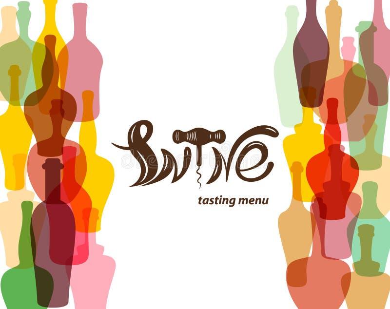 Weinprobemenü Farbige Schattenbilder von Weinflaschen Beschriftung in Form von Weinkorkenzieher stock abbildung