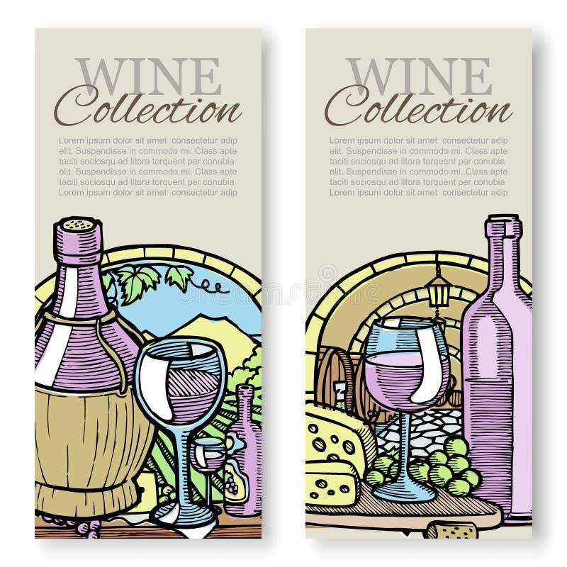Weinproduktion und Traubenweinleseskizzenvektorsatz Schablonen, die Wein, Aufkleber, Identität oder das Einbrennen verpacken Wein lizenzfreie abbildung