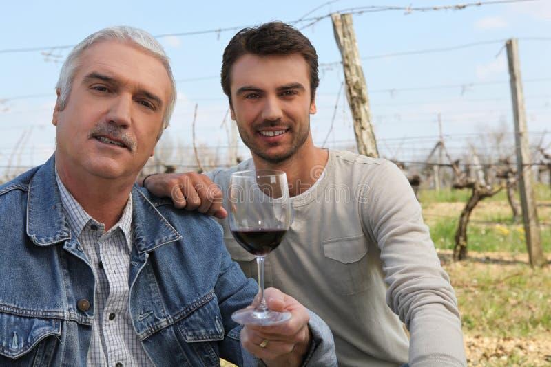 Weinproduzenten im Weinberg stockbild