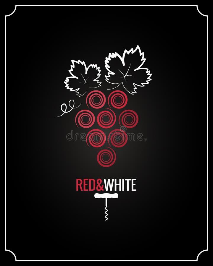 Weinreben rot und weiß auf schwarzem Hintergrund vektor abbildung