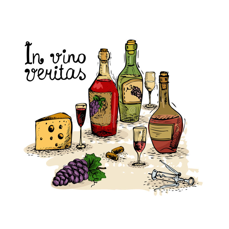 Weinstillleben vektor abbildung