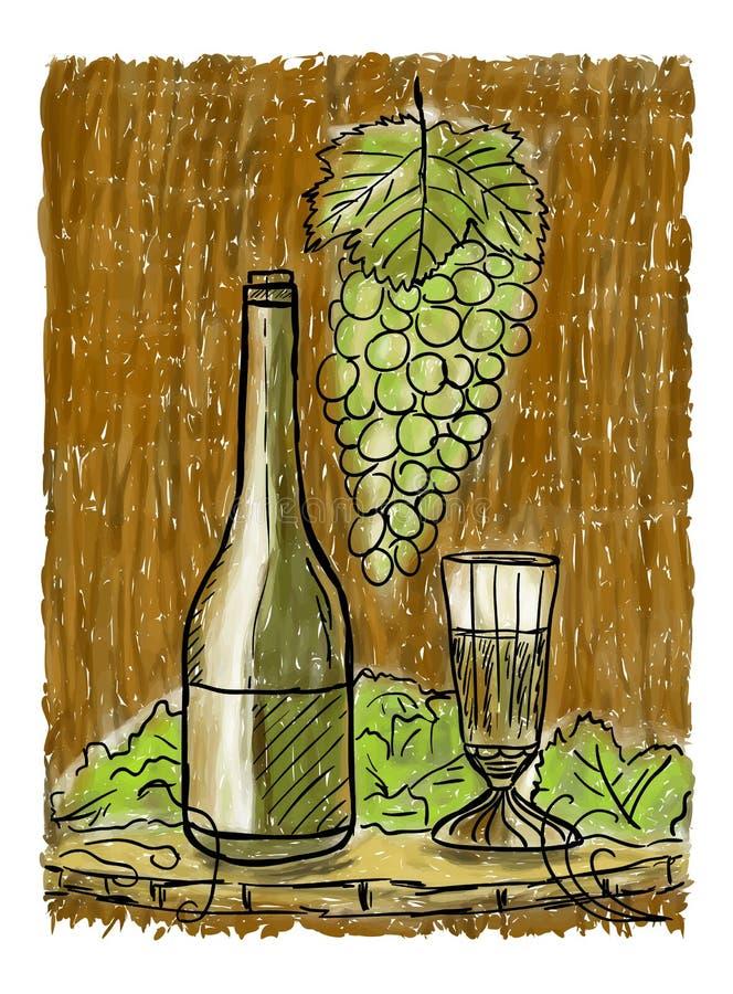 Weinstilllebenmalerei lizenzfreie abbildung