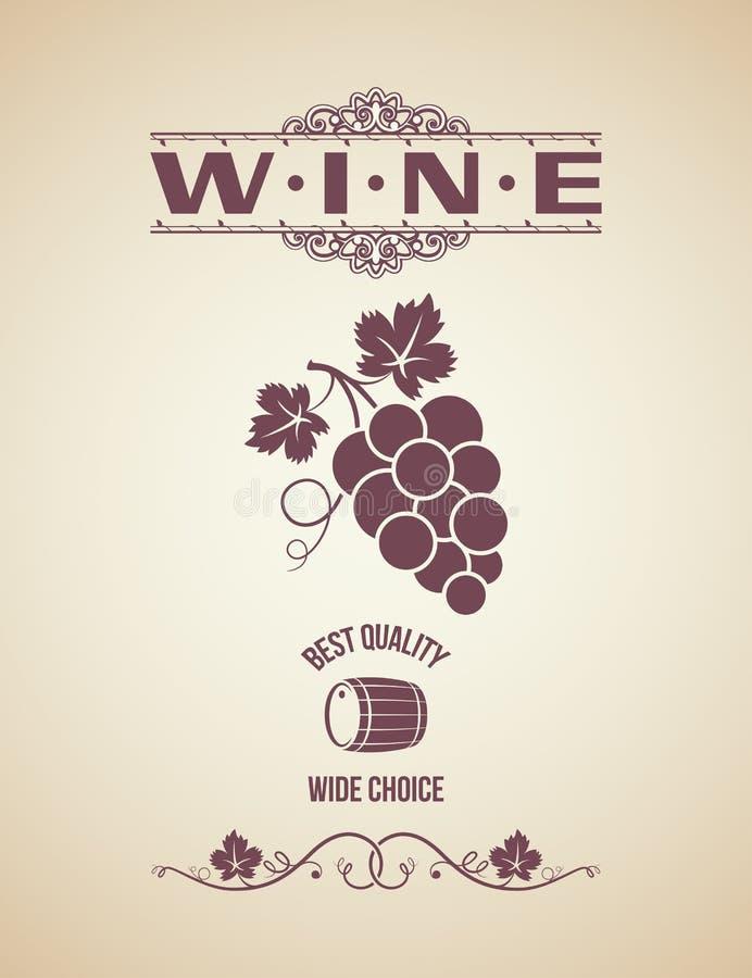Weinweinlesetrauben-Aufkleberhintergrund vektor abbildung