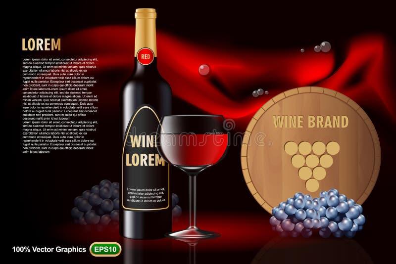 Weinwerbung auf nettem Hintergrund lizenzfreie abbildung