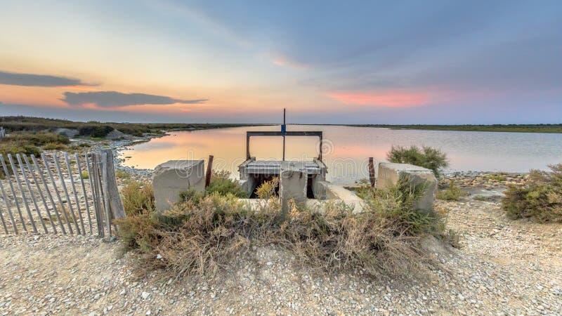 Weir ζωηρόχρωμη λιμνοθάλασσα Camarque στοκ φωτογραφία