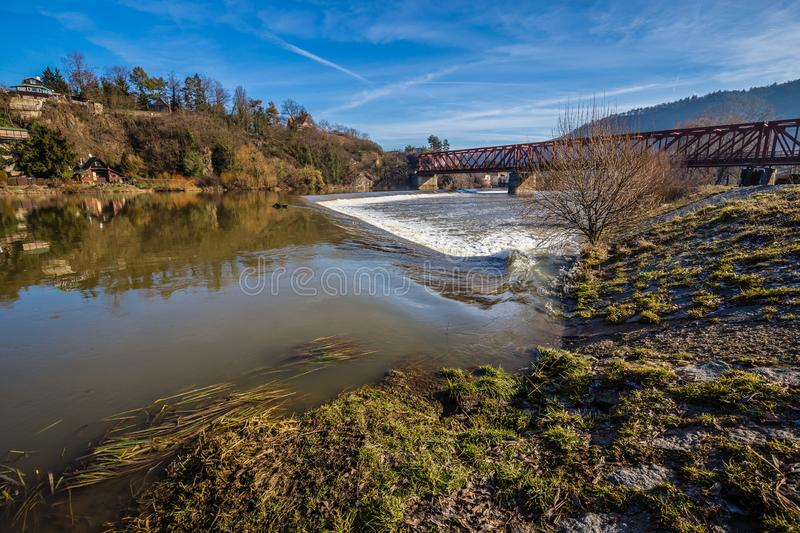 Weir On Berounka River - Cernosice, Prague, Czech Republic. Europe royalty free stock image