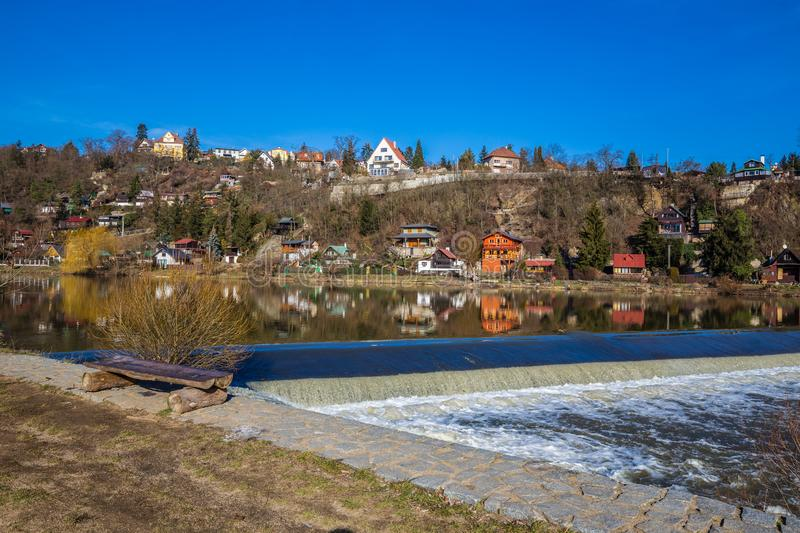 Weir On Berounka River - Cernosice, Prague, Czech Republic. Europe stock photos