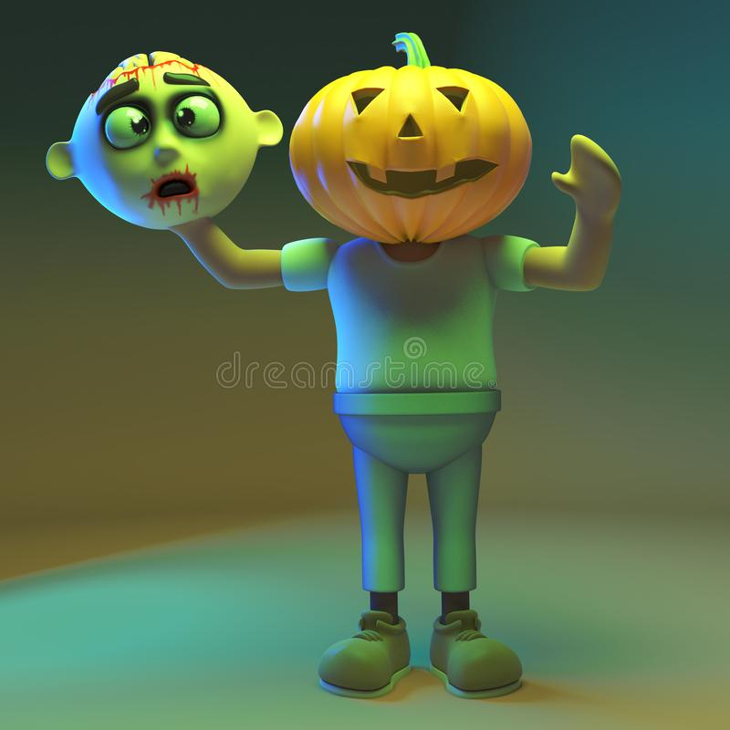 Weird 3d cartoon undead zombie monster has a carved pumpkin for a head, 3d illustration. Render vector illustration