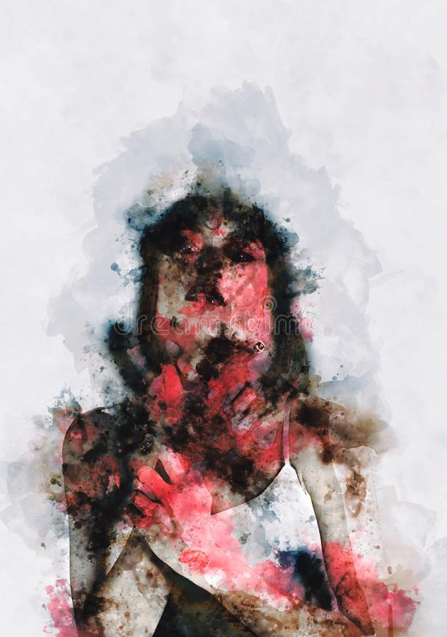 Weird digital painting of female zombie royalty free stock photo