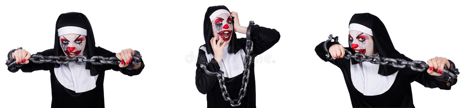 The weird female nun with shackles isolated on white stock photography