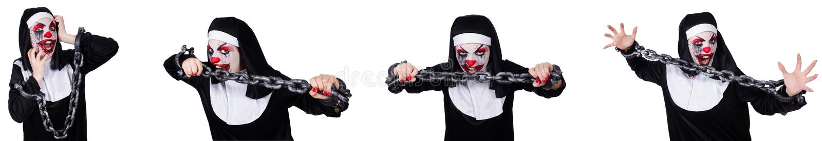 The weird female nun with shackles isolated on white royalty free stock photos