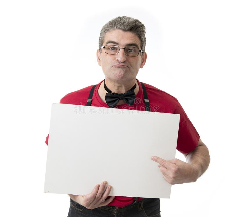 Weird and funny 40s to 50s crazy sales man with bowtie and red s stock image