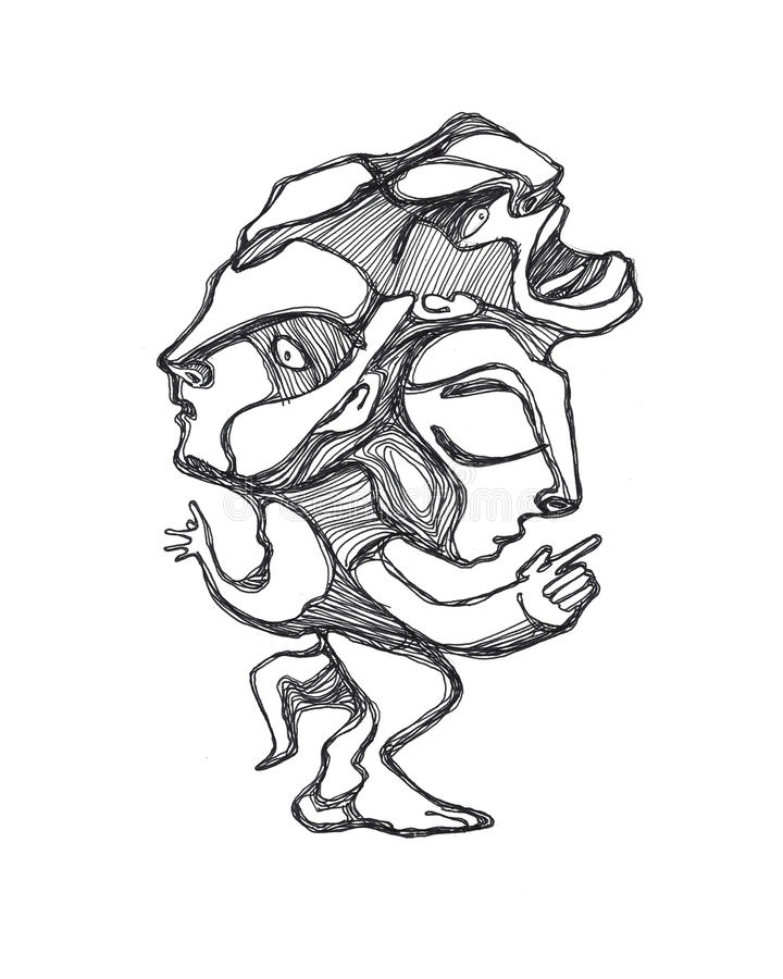Weird human form illustration. Hand drawn illustration or drawing of a human form with three heads and abstract proportions royalty free illustration