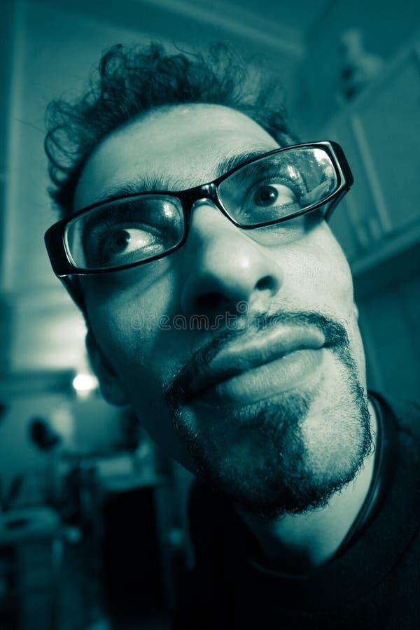 Weird looking genius. Close-up portrait stock photos