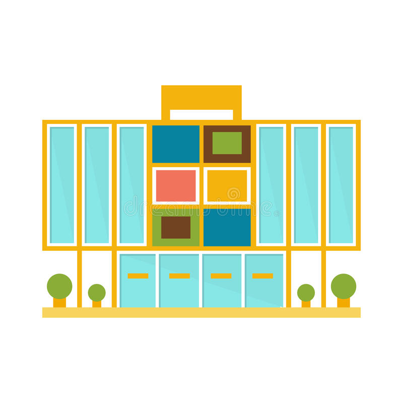 Weird Minimalistic Colorful Shopping Mall Modern Building Exterior Design Project Template Isolated Flat Illustration royalty free illustration