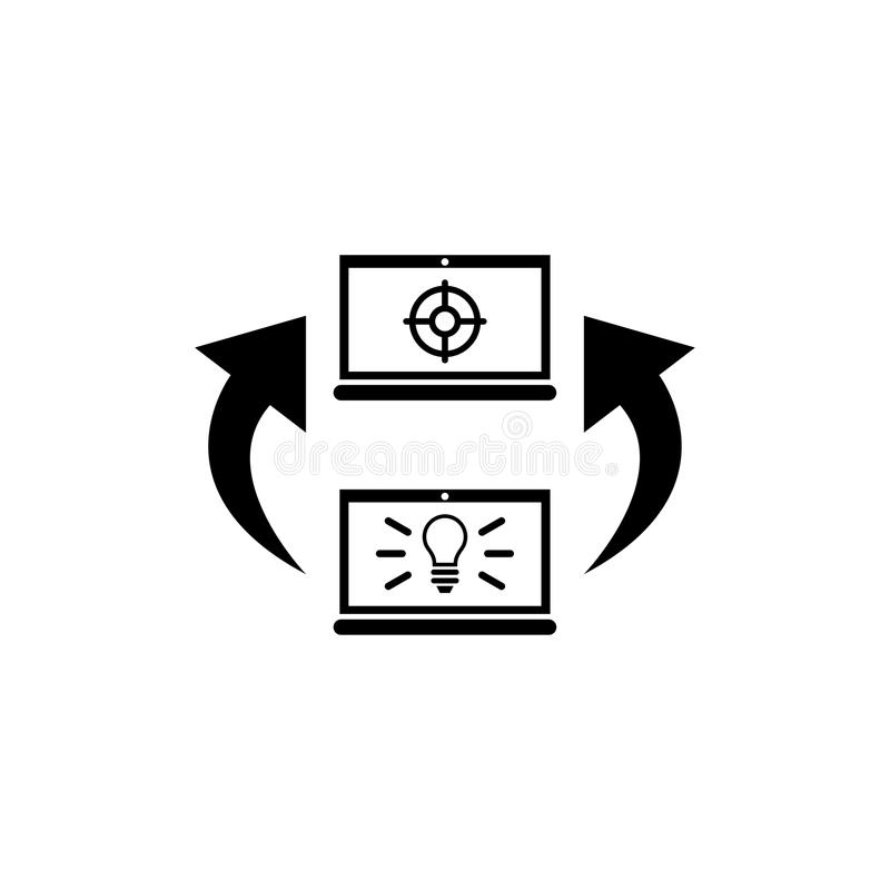 Weise von Idee zu Ziel, Arbeit für Laptop-flache Vektor-Ikone vektor abbildung