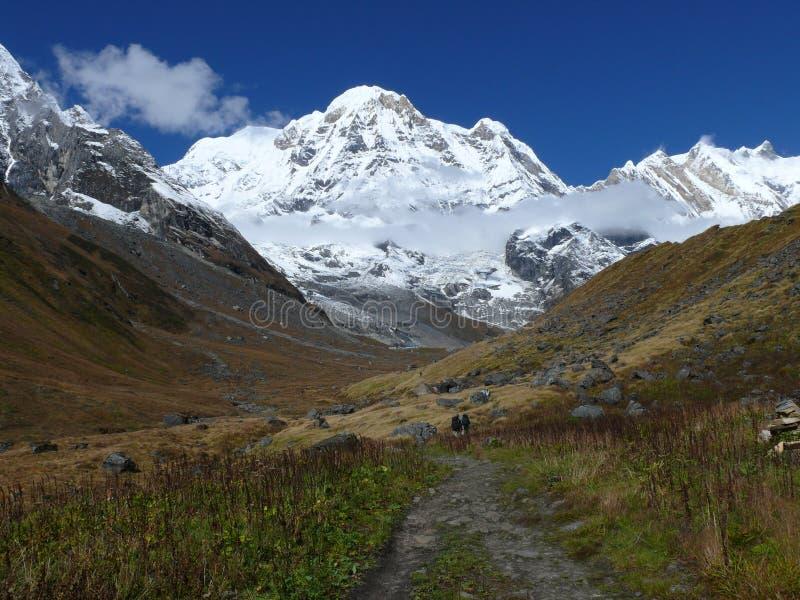 Weise zu niedrigem Lager Annapurna lizenzfreies stockfoto