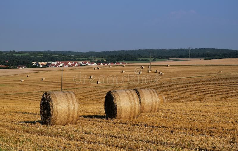 Weissach countrified. Hay rolls in the Stuttgart's countryside stock images