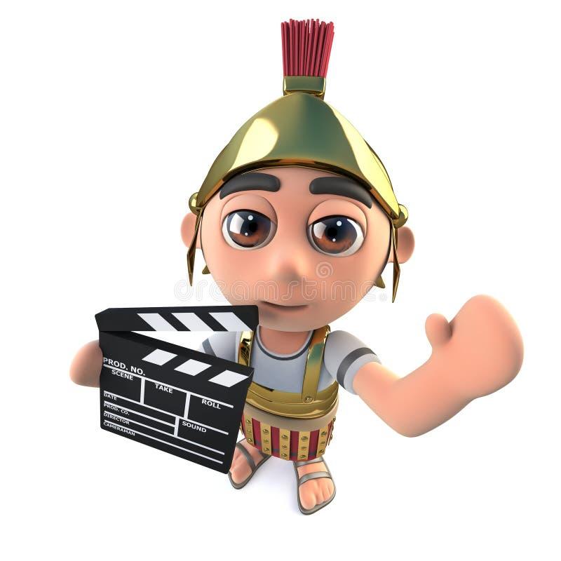 weissen der römische Soldatbefehlshaber der lustigen Karikatur 3d halten Filmemacher Schiefer stock abbildung
