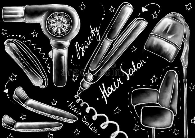 Weissen Sie gezogene Artinstrumente, Werkzeuge, Möbel und Kalligraphiewörter auf dem mattschwarzen Hintergrund stock abbildung