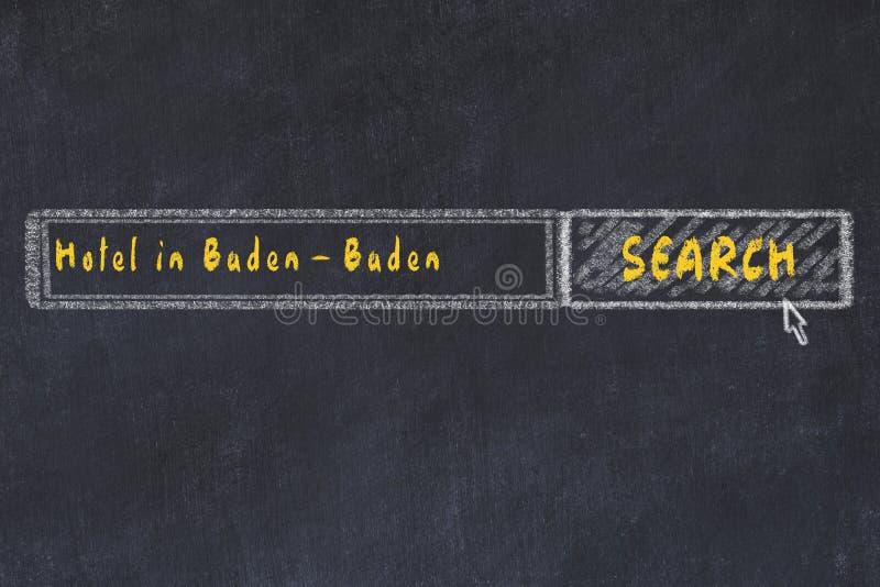 Weissen Sie Skizze der Suchmaschine Konzept des Suchens und Buchung eines Hotels in Baden-Baden vektor abbildung