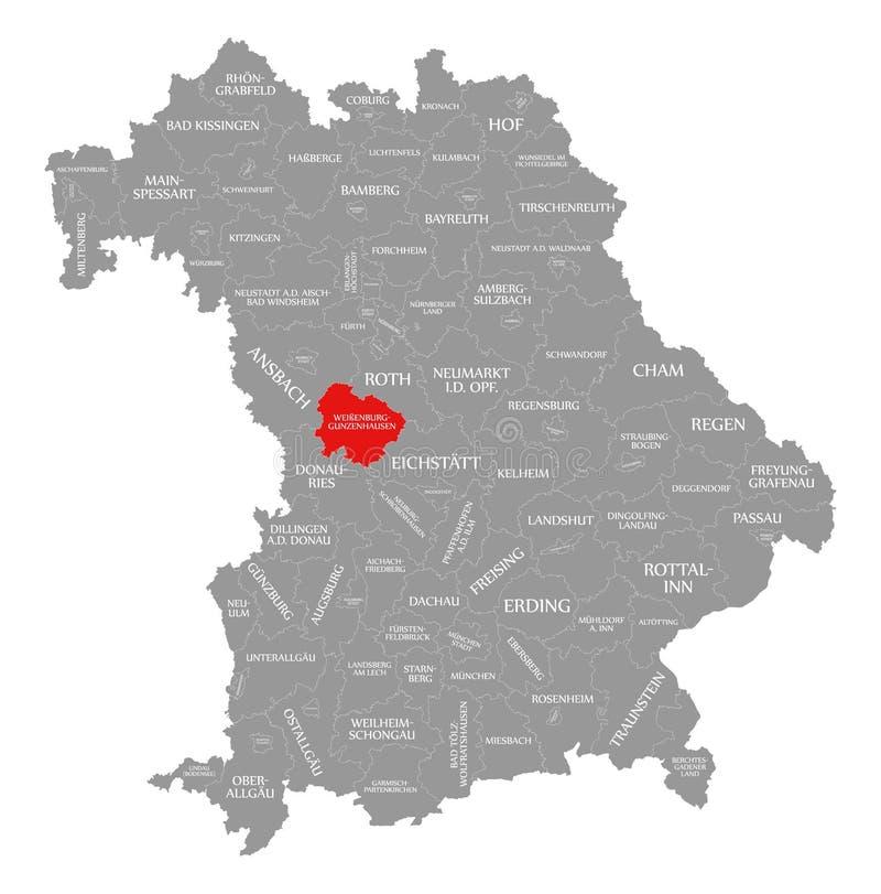Weissenburg-Gunzenhausen okręgu administracyjnego czerwień podkreślająca w mapie Bavaria Niemcy ilustracja wektor