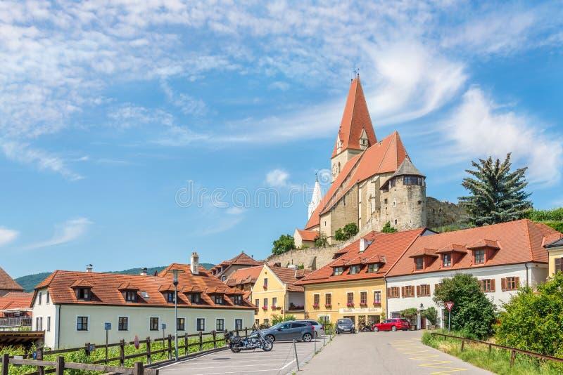 View at the Parish church of Weissenkirchen in Wachau valley in Austria stock photos