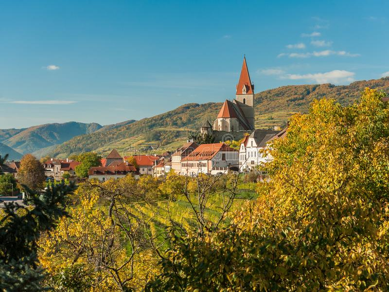 Weissenkirchen Wachau Austria in autumn colored leaves and vineyards royalty free stock photography