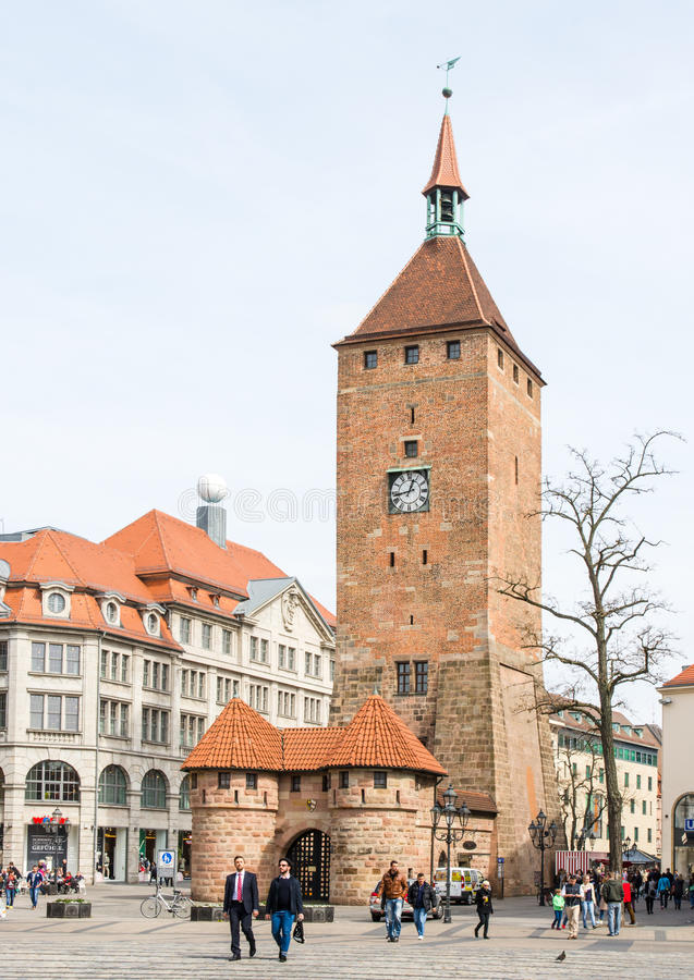 Weisser Turm in Nuremberg stock photos