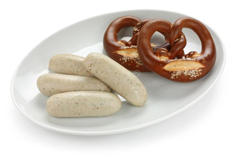 Weisswurst and pretzel stock images