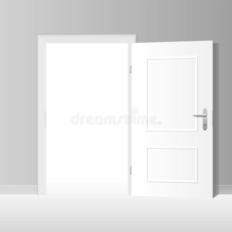 Weit offene weiße Tür lizenzfreie abbildung