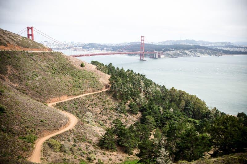 Weitwinkelansicht Golden gate bridges in San Francisco, wie von Marin Headlands gesehen lizenzfreies stockbild