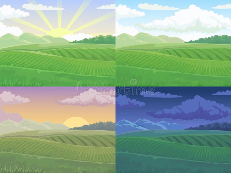 Weitwinkelansicht vom Gras Gr?ner H?gel, Tagesfelder gestalten landschaftlich und entspringen H?gelkarikaturvektor-Illustrationsh vektor abbildung