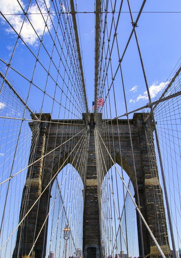 Weitwinkelansicht von Manhattan-Brücke in New York City lizenzfreie stockfotografie